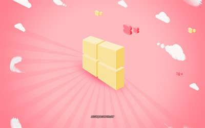 Windows 3D logo, yellow 3D logo, pink background, creative art, Windows, emblem, Windows logo