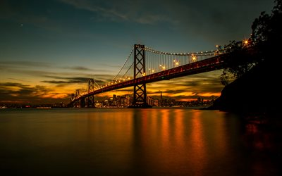 San Francisco, Bay Bridge, evening, sunset, San Francisco-Oakland Bay Bridge, California, skyscrapers, San Francisco cityscape, skyline, USA