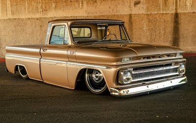 Chevrolet C10, tuning, 1968 cars, retro cars, low rider, 1968 Chevrolet C10, pickup truck, american cars, Chevrolet