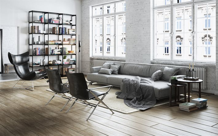 Download Wallpapers Stylish Living Room Interior Design Loft Images, Photos, Reviews