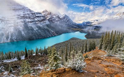 Peyto Lake, winter, Banff, mountains, 4K, beautiful nature, Banff National Park, blue lake, Canada, Alberta, winter landscapes