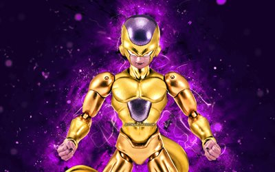 Or Freeza, 4k, violet néon, Dragon Ball, Goruden Furiza Poule, Dragon Ball Super, DBS, la Résurrection de F Saga Freeza, DBS caractères, Or Freezer Dragon Ball
