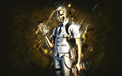 Fortnite Ghost Midas Skin, Fortnite, main characters, gold stone background, Ghost Midas, Fortnite skins, Ghost Midas Skin, Ghost Midas Fortnite, Fortnite characters