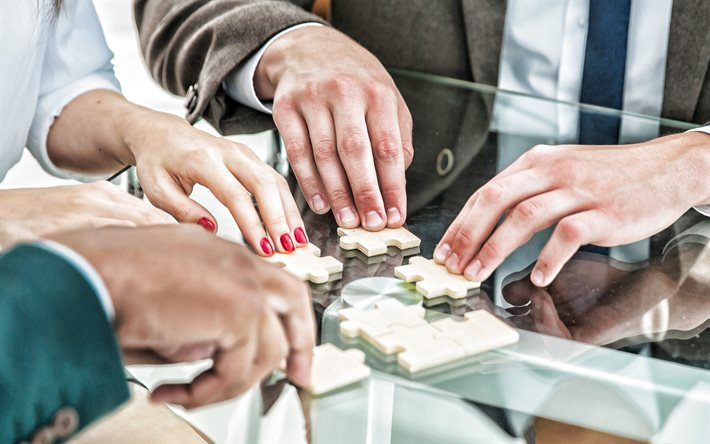 teamwork, 4k, business people, wooden puzzles and businessmen, teamwork concepts, business, team of people
