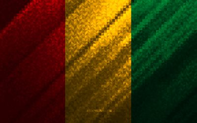 Flag of Guinea, multicolored abstraction, Guinea mosaic flag, Guinea, mosaic art, Guinea flag