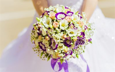 Wedding bouquet, bride, rose, eustoma, white dress