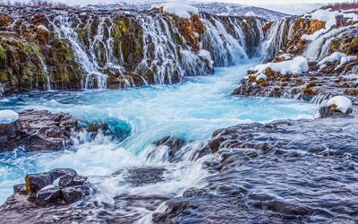 Iceland, waterfall, snow, mountains, rocks, river