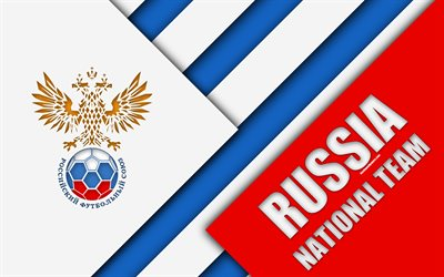 Russia national football team, 4k, emblem, material design, blue and white abstraction, logo, football, Russia, coat of arms, Russian Federation