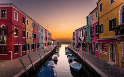 Venice, Burano, island quarter, parking for boats, evening, sunset, Italy