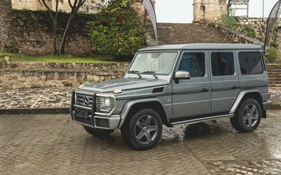 Mercedes-Benz G-Class, 2017, G500, V8, brutal SUV, military cars, 4x4, gray G-Class, tuning, Mercedes