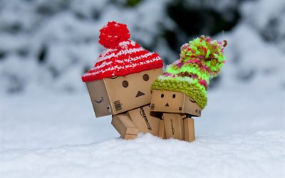 Danbo, winter, cardboard robot, snowdrifts, danboard box, mother and cub