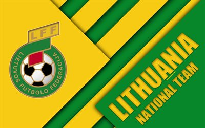 Lithuania national football team, 4k, emblem, material design, green yellow abstraction, logo, Lithuanian Football Federation, football, Lithuania, coat of arms