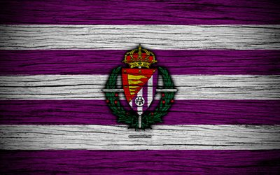 Real Valladolid FC, 4k, Segunda Division, soccer, football club, Spain, Real Valladolid CF, logo, LaLiga2, wooden texture, FC Real Valladolid
