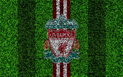 Liverpool FC, 4k, football lawn, emblem, Merseyside, Liverpool logo, English football club, green grass texture, Premier League, Liverpool, England, United Kingdom, football