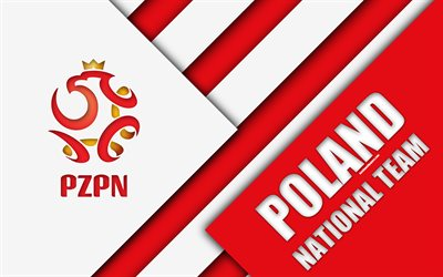 Poland national football team, 4k, emblem, material design, white red abstraction, logo, Polish Football Association, football, Poland, coat of arms