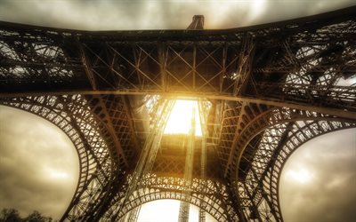 Eiffel Tower, HDR, french landmarks, capital, Paris, France, Europe