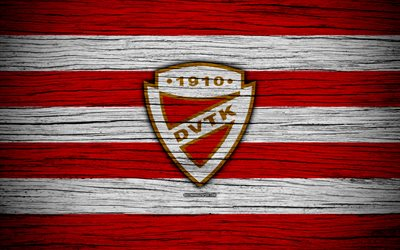 DVTK FC, 4k, Hungarian Liga, soccer, NB I, football club, Hungary, DVTK, football, wooden texture, FC DVTK