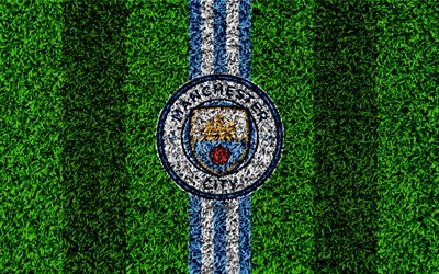 Manchester City FC, 4k, football lawn, MC emblem, logo, English football club, green grass texture, Premier League, Manchester, England, United Kingdom, football