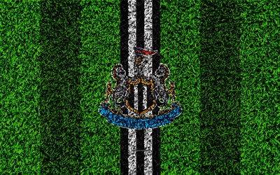 newcastle united fc, 4k, nufc, fußball-rasen, emblem, newcastle-logo, english football club, grünes gras textur, premier league, newcastle upon tyne, england, vereinigtes königreich, fußball