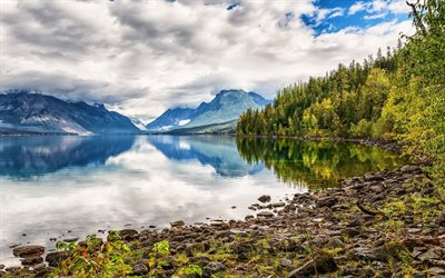 mountain lake, morning, mountain landscape, forest, white clouds, coast