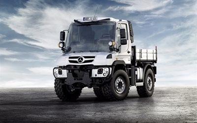 Mercedes-Benz Unimog, U423, 2018, Euro 6, off-road truck, German trucks, white Unimog, new cars, Mercedes
