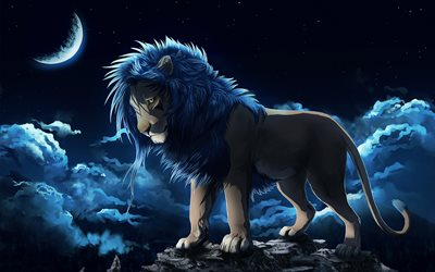 lion, night, leo, clouds, moon, predator, king of beasts