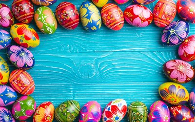 Easter eggs, decorated eggs, blue wooden background, boards, Happy Easter, frame from eggs