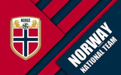 Norway national football team, 4k, emblem, material design, violet blue abstraction, logo, football, Norway, coat of arms
