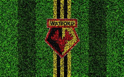 Watford FC, 4k, football lawn, emblem, Watford logo, English football club, green grass texture, Premier League, Watford, England, UK, football