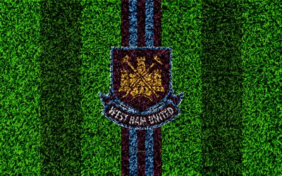 West Ham United FC, 4k, football lawn, emblem, logo, English football club, green grass texture, Premier League, Stratford, London, England, United Kingdom, football