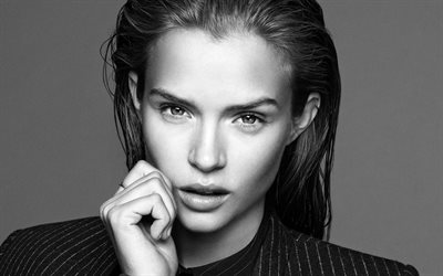 Josephine Skriver, monochrome portrait, 4k, photoshoot, beautiful woman, face, black and white photo, Danish top model