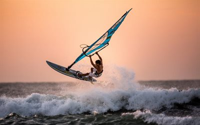 winsurfing, extreem, sea, windsurfer