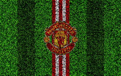 Manchester United FC, 4k, football lawn, emblem, MU logo, English football club, green grass texture, Premier League, Manchester, England, United Kingdom, football