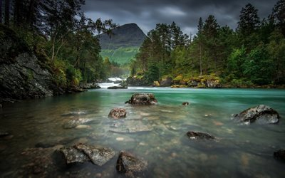 mountain river, forest, mountain landscape, rocks in the water, waterfalls, mountains
