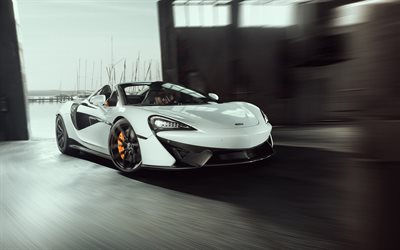 McLaren 570S Spider, 2018, Novitec, front view, luxury sports car, sports cars, white 570S, tuning, McLaren