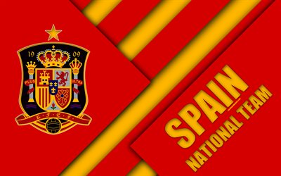 Spain national football team, 4k, emblem, material design, red yellow abstraction, Royal Spanish Football Federation, logo, football, Spain, coat of arms