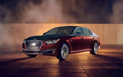 4k, Genesis G90 Vanity Fair Special Edition, luxury cars, 2018 cars, red G90, tuning, Genesis G90, korean cars, Genesis