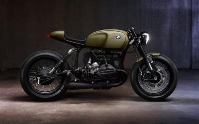 BMW k1100 Cafe Racer, side view, exterior, bobber, green motorcycle, german motorcycles, BMW