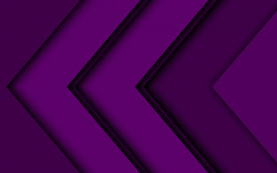 violet arrows, artwork, creative, abstract arrows, violet material design, geometric shapes, arrows, geometry, violet backgrounds, dark arrows