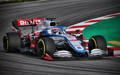 4k, Williams FW43 sur la bonne voie, chemin de câbles, 2020 voitures de F1, Formule 1, la Williams Mercedes FW43, F1, Williams 2020, Williams FW43, voitures de F1, ROKiT Williams Racing, nouvelle FW43