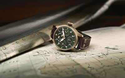 clock, old map, time to travel, retro travel concepts, travel around Europe, IWC Big Pilots Watch Perpetual Calendar Spitfire