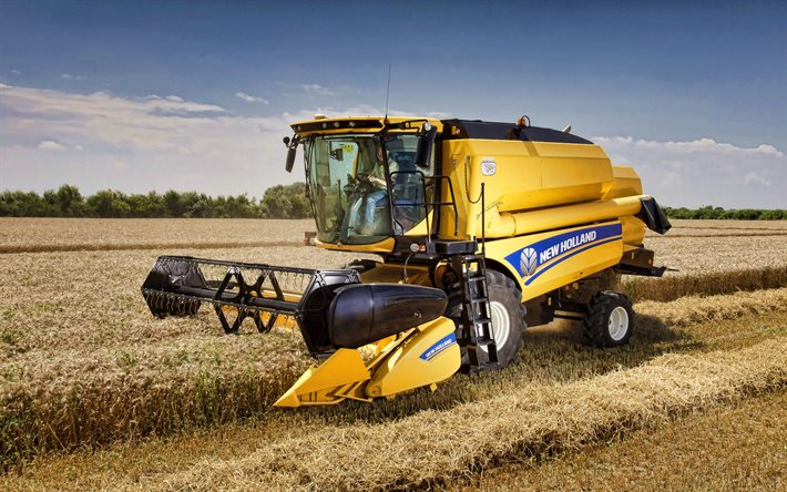 A New Holland TC4-90, 4k, colhedora, 2020 combina, a sega do trigo, a colheita conceitos, A New Holland
