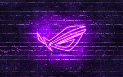 Download Wallpapers Rog Violet Logo 4k Violet Brickwall Republic Of Gamers Rog Logo Brands Rog Neon Logo Rog For Desktop Free Pictures For Desktop Free