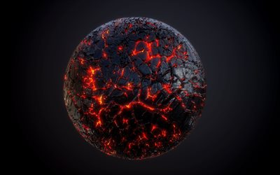 lava planet, 4k, fire planet, darkness, 3D planet, galaxy, black background, 3D art, artwork, planets