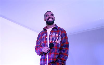 Drake, 2020, canadian rapper, fan meeting, music stars, Aubrey Drake Graham, photoshoot, Drake with microphone