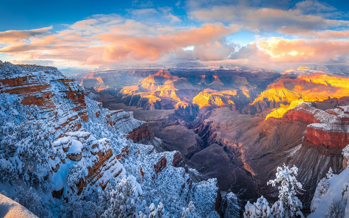 4k, Grand Canyon, winter, rocks, Arizona, beautiful nature, USA, America, canyon, american landmarks