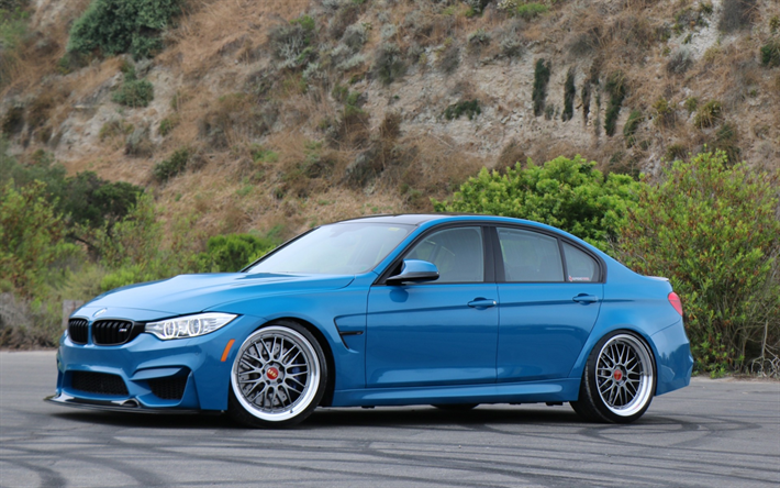 Download Wallpapers Bmw M3 Stance F80 Tuning 2018 Cars Blue M3