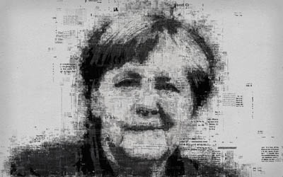 Angela Merkel, 4k, face, portrait, newspaper art, typography, print, creative art portrait, Federal Chancellor of Germany