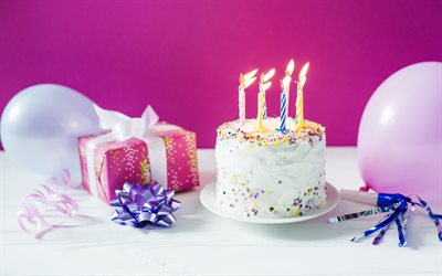 Birthday cake, burning candles, cake on a pink background, gift, blue bow, happy birthday