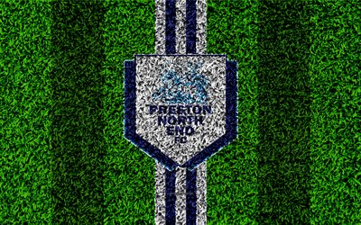 Preston North End FC, 4k, football lawn, logo, emblem, English football club, blue white lines, Football League Championship, grass texture, Preston, UK, England, football